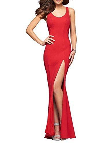 Charmant Damen 2017 Neu Rot U-ausschnitt Abendkleider Brautjungfernkleider Partykleider lang Meerjungfrau