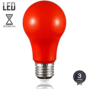 TORCHSTAR Red LED A19 Colored Light Bulb, E26 Medium Base, Dwelling Environment & Melatonin Friendly, 7W (50W Equiv.), 3 Years Warranty, 20,000hrs, Non-Dimmable