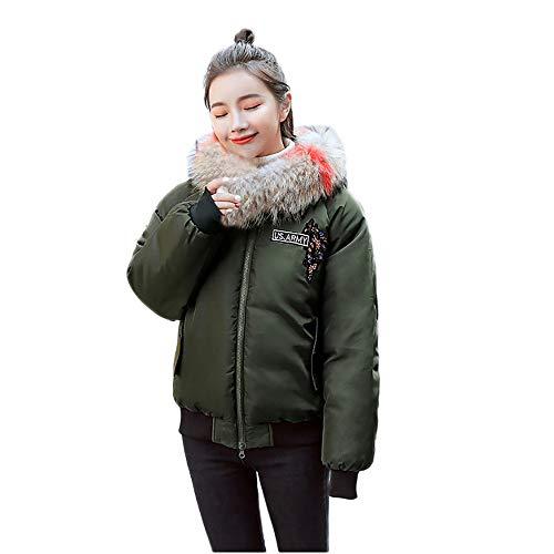 Limsea Women Parka Hooded Coat Jacket Thick Fur Collar Winter Warm Slim Fit Outwear XX-Large Green