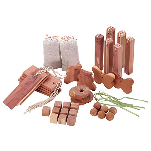Homode Aromatic Cedar Blocks for Clothes and Shoes Storage Value Pack (40 Items and Sandpaper) - Lavender Cedar Blocks