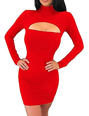 Haola Women's Long Sleeve Cut Out Front Sexy Club Bodycon Dress Party Mini Bandage Dress