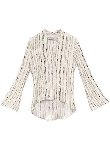 Waverly Grey Women's Asha Top Long Bell Sleeve Pinstripe V Neck Blouse Multi 2