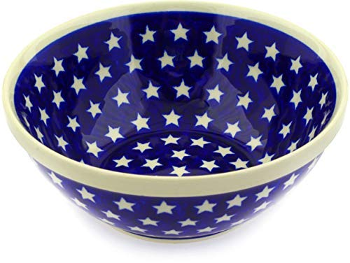 Polish Pottery 8-inch Bowl (America The Beautiful Theme) + Certificate of Authenticity [並行輸入品] B07V467B4J