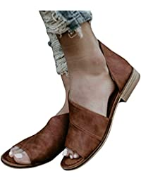 Womens Casual Slip On D'orsay Flats Peep Toe Cutout Asymmetrical Sandals Shoes Loafers