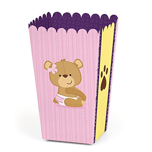 Baby Girl Teddy Bear - Baby Shower Favor Popcorn Treat Boxes - Set of 12]()