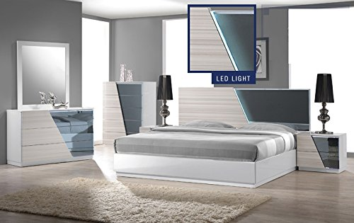 Modern Manchester 4 Piece Bedroom Set Eastern King Size Bed Mirror Dresser Nightstand Zebra White Headboard Has Light & Reflective Mirror Bedroom Furniture