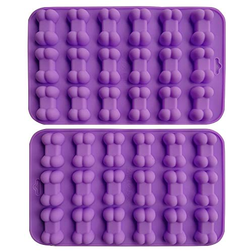 AxeSickle (2 per pack) Silicone Baking Molds Cake Chocolate Candy Pans Dog Treats Food Grade Bones Silicone Mold,Mini Bone Shape Silicone Ice Cube Trays,Soap Mold,Silicone Bone Pet Cookies Molds. ()