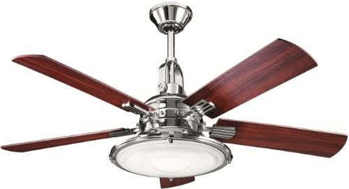 Kichler 300020PN, Kittery Point Polished Nickel 52 Ceiling Fan with Light Remote Control