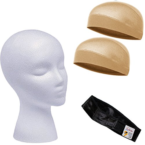 Wig Accessories - Wig Head, Wig Caps - Wig And Scarf Grip Comfort Band - Comfort Grip Wig Band - CoverYourHair (Wig Accessories (4 piece))