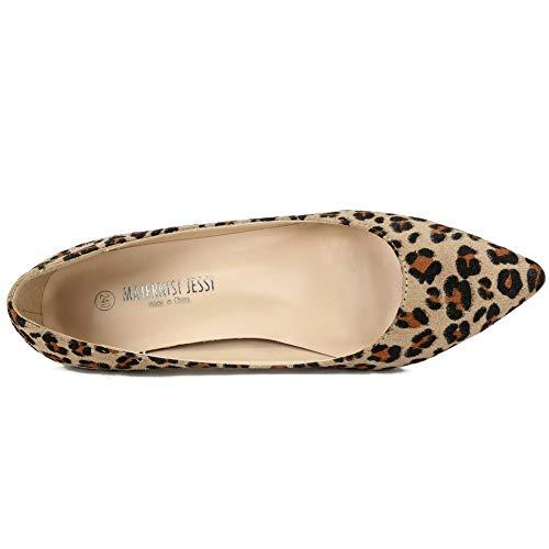 Dress Slip Heel Toe Pointed Shoes JESSI Women's Velvet On Kitten leopard Pumps Classic MAIERNISI A4tqzwH4
