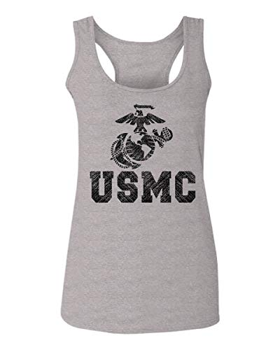 Marine Corps Tank - USMC Marine Corps Big Logo Black Seal United States of America USA American Women's Tank Top Sleeveless Racerback (Light Gray Medium)