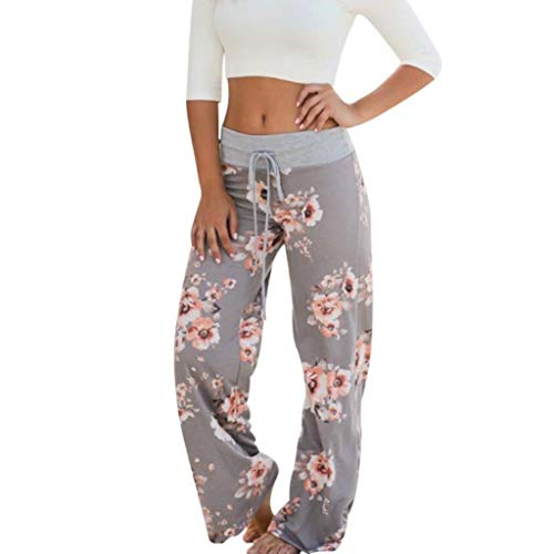(YKARITIANNA Womens Comfy Stretch Floral Print Drawstring Palazzo Wide Leg Lounge Pants Leggings Gray)