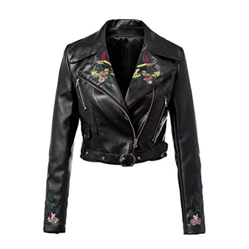 Style Femmes Brodée Noir Biker coloré De Xl Taille Crop Pour Bikers Noir Veste En Oudan Cuir Vintage XHzqnS
