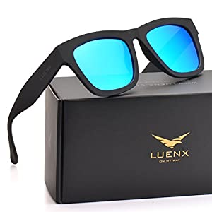 Mens Wayfarer Polarized Sunglasses UV 400 Protection Mirror Blue Lens Black Frame 58MM,by LUENX with Case