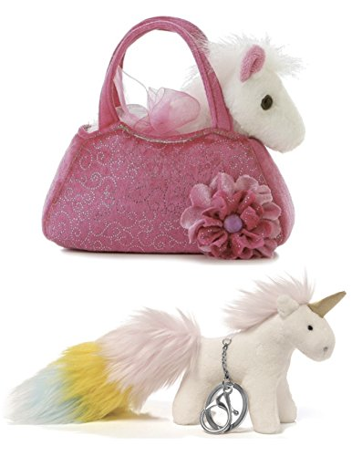ReBL LLC Stuffed Animals Fancy Pals Peek-A-Boo Pet Carrier And Clip-On Keychain | Plush, Soft, Cuddly, Cute Toys | For Girls, Party Gifts, Birthdays, Holidays & More (Horse Small Keychain)