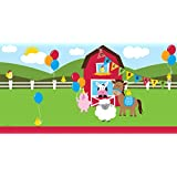 """Creative Converting 725506 Border Print Plastic Table Cover, 54 by 108"""", Farmhouse Fun, Green/Red"""
