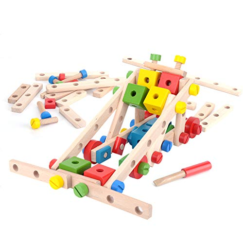 DailyLoop Nuts and Bolts Wooden Building Construction Toy Set ()