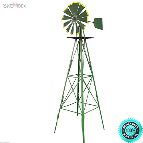 (SKEMiDEX--- 8' 8 feet Green Metal Windmill Yard Garden Deco Wind Mill Weather Rust Resistant These windmills feature ball bearing construction and grease fittings so they spin freely in response.)