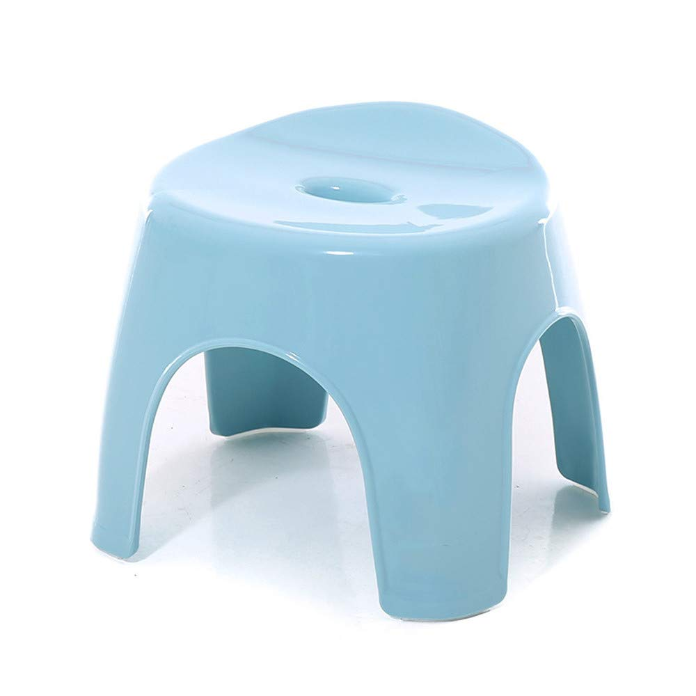 Amyannie Thickened Children's Stool Non-Slip Shoes Bench Adult Footstool (Color : Blue)