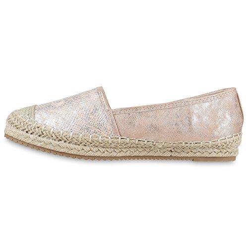 Stiefelparadies Damen Espadrilles Metallic Slipper Bast Profilsohle Flats Freizeit Schuhe Glitzer Prints Spitze Flandell Rosa Metallic