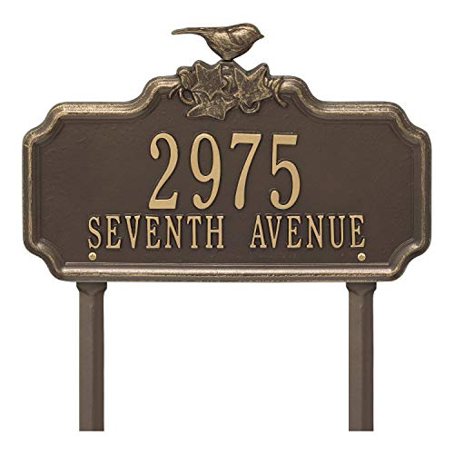 - Whitehall Personalized 2 Lines Chickadee and Ivy Aluminum Garden Plaque 16.13