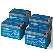48V 12Ah Electric Scooter, eBike Battery Set (6-DZM-12) Deep Cycle Mobility Batteries