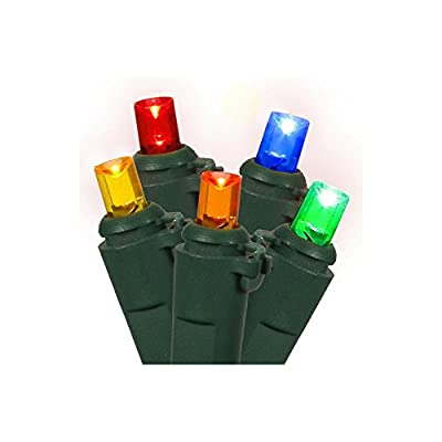 Set of 60 Multi Color Mini LED 16 Function Christmas Lights - Green Wire