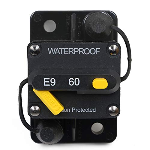T Tocas 60 Amp Circuit Breaker Trolling with Manual Reset, 12V- 72V DC, Waterproof (60A)