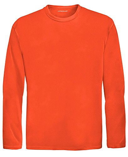 Joe's USA DRI-Equip Youth Long Sleeve Moisture Wicking Athletic Shirts,L-Neonorange