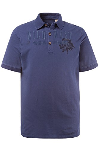 JP 1880 Herren große Größen   Poloshirt aus Piqué-Jersey   Wild West Stick   Polokragen   Halbarm   bis Größe 7XL   blue XXL 708371 92-XXL
