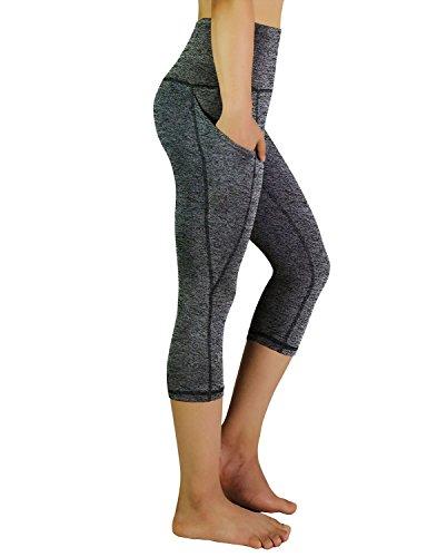 言語おとなしい墓地(XX-Large, Black Gray) - REETOYO Women's High Waisted Tummy Control Workout Yoga Capris Running Leggings Side Pockets
