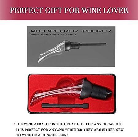 Juanya - Aireador de vino, decantador antigoteo, boquilla vertedor, degustación de vino, color rojo y blanco, regalo para amantes del vino, accesorio para jarra de vino