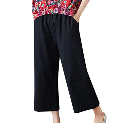 JOFOW Wide Leg Pants Capri for Women Solid Loose Artificial Cotton Linen Pajamas Bottom High Waist Casual Elegant Trousers (S,Black) -