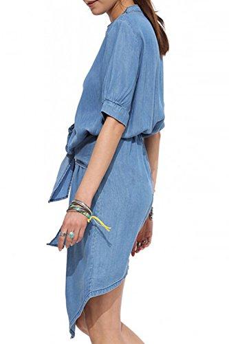 Damen Langarm Schlitz Single Breasted Casual Kleid mit Gürtel