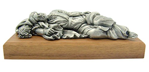 Pewter Sleeping Saint Joseph Figurine Statue on Wooden Base, 4 1 2 Inch