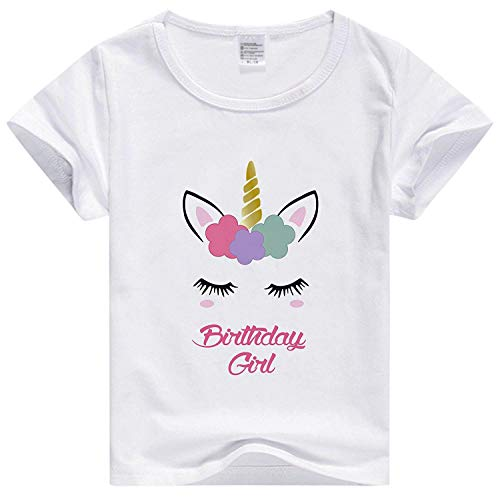 - Girls Unicorn Tshirt Birthday Gift for Kids (Birthday Girl, 5-6 Y)