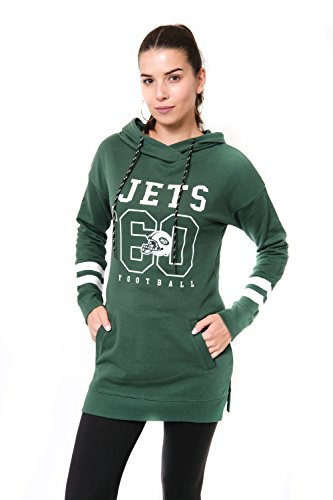 New Colors York Jets (Icer Brands NFL New York Jets Women's Tunic Hoodie Pullover Sweatshirt Terry, X-Large, Green)