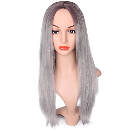 Price comparison product image EffortLife 26'' Ombre Wigs for Women Two Tone Black Roots Natural Long Straight Heat Resistant Synthetic Blonde Hair Wigs with Wig Cap(Silver Grey)
