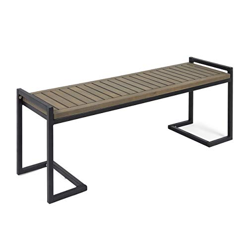 (Great Deal Furniture Noel Outdoor Industrial Acacia Wood and Iron Bench, Gray and)