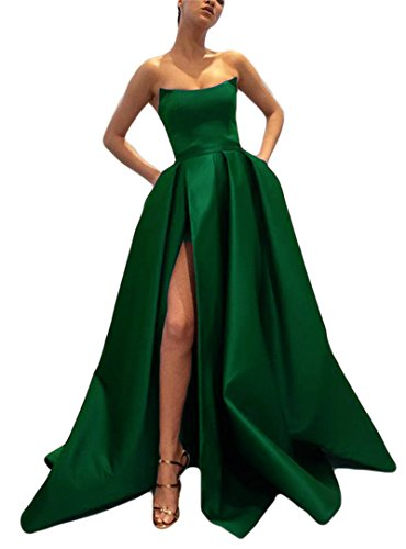 Prom Strapless Green Gowns Dark Dreagel Formal Long Dresses Elegant Evening Slit with P1665Eqw