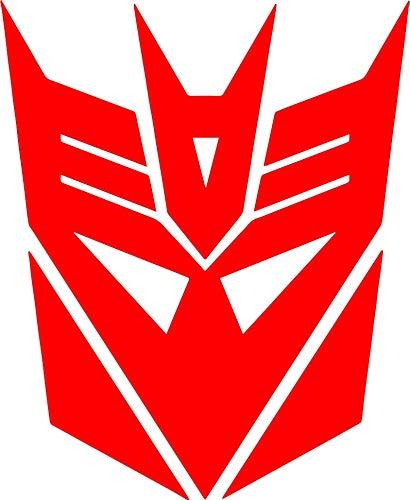 zhehao Transformers Decepticon Logo Vinyl Decal - Decepticon Tumbler Decals - 1980's Transformers Cartoon Emblem Logo Decal (4.9x6 inches, Red)