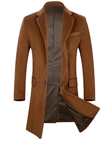 APTRO DZDY Men's Wool Coat Long Fashion Slim Fit Overcoat Jacket 1702 Camel M by APTRO