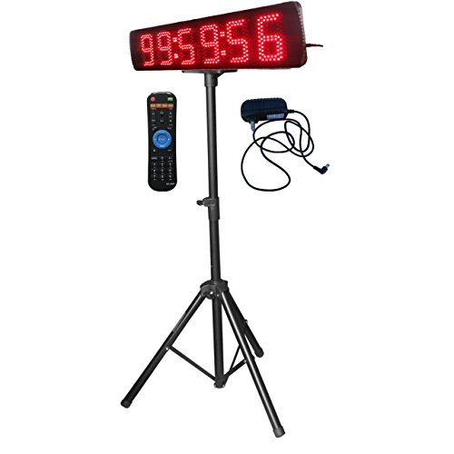 Single Sided Red Color LED Race Timing Clock with Tripod 5'' High Character for Semi-Outdoor / Outdoor Running Events IR Remote Control by Ledgital