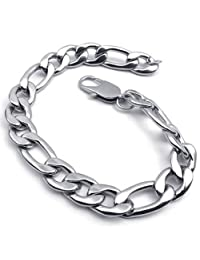Konov Jewelry Wide Stainless Steel Figaro Mens Bracelet, Silver, 11mm, 9 Inch, with Gift Bag, C22321