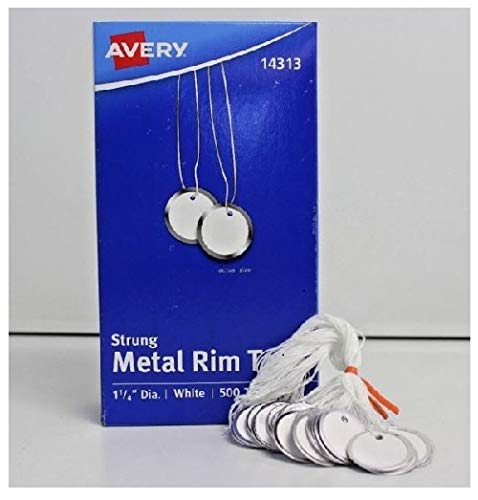 Avery 14313 Heavyweight Stock Metal Rim Tags,  1 1/4 dia, White (Box of 500) ()