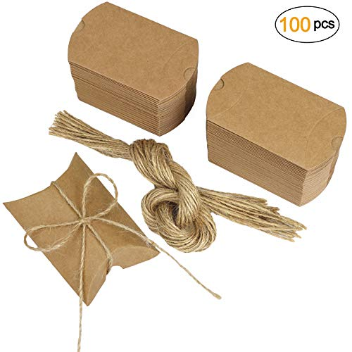 (Kraft Gift Box, Pillows Candy Boxes 100pcs Vintage Paper Thank You Treat Box Kit with Jute Twine for Wedding Favors Baby Shower Birthday Party Supplies)