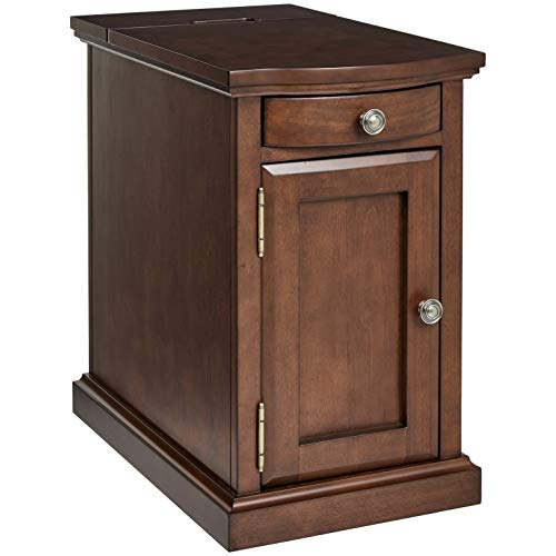 Ball & Cast Harriet Wood End Table with Drawer, Cabinet, and Built-in Power Strip, Executive Brown ()