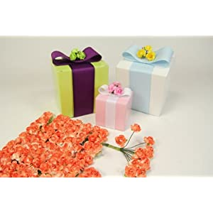 Orange Small Mini Paper Rose Bud Flowers-0.5 Inches X 144 Buds 15