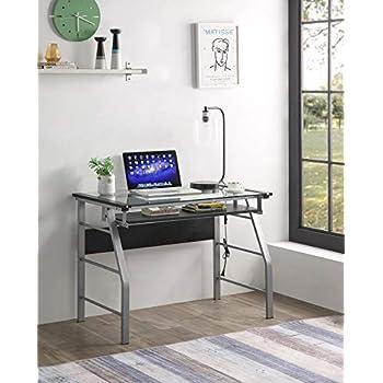 Amazon Com King S Brand 2940 Metal And Glass Top Home