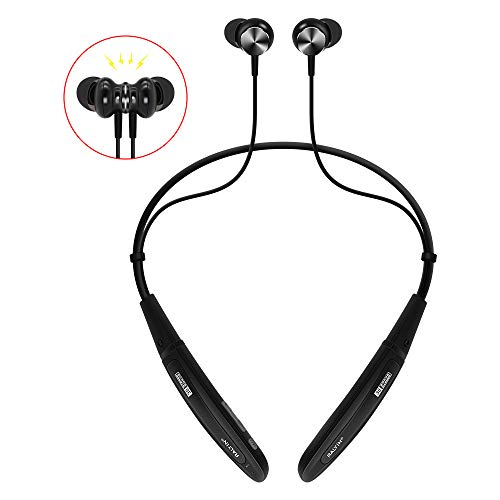 Bluetooth Headphones Neckband,Ralyin MP3 Player Magnetic Sport Wireless Earbuds Built in 8GB TF Memory Card Wearable Headset with Mic for Running Gym Workout Waterproof Earphones Cordless (Black)